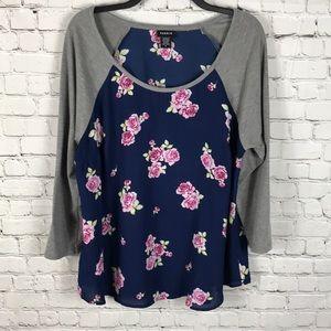 Torrid Sz 0 Floral Henley Shirt